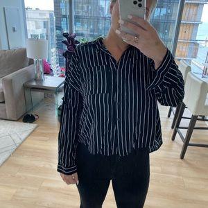 Forever 21 stripe open back blouse